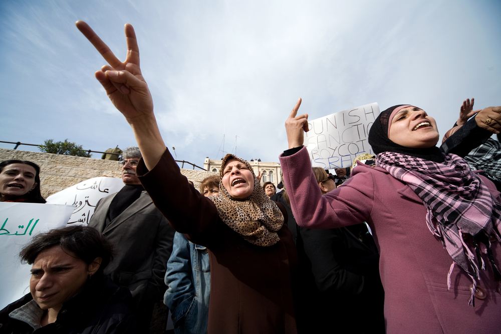 A peace demonstration in gaza. photo:  mikhail/shutterstock