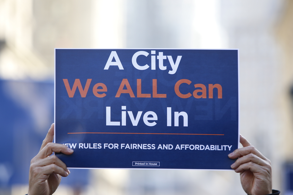 A housing protester in New York. Photo: a katz/shutterstock