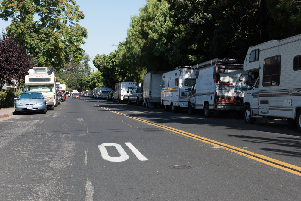 the RVs of the homeless line a street in mountain View, CA. photo:Phyllis Peterson/shutterstock