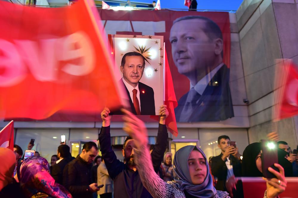 a rally for turkish president Erdogan. photo:thomas koch/shutterstock