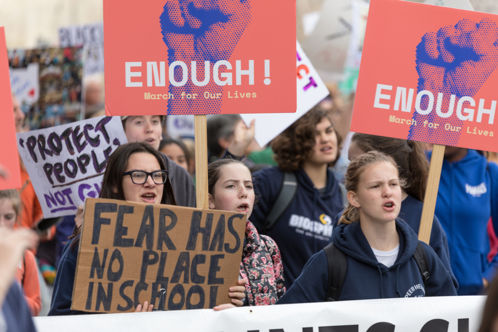 students march for gun reform in los angeles. Karl_Sonnenberg/shutterstock