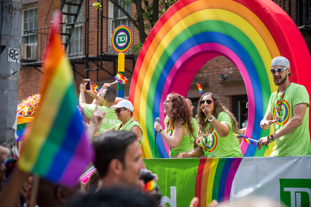 The TD Bank Float at the new YOrk City pride march. photo: lazyllama/shutterstock