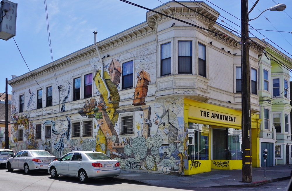 This mural in San Francisco's fast gentrifying mission district has since been painted over. Photo: EQRoy/shutterstock
