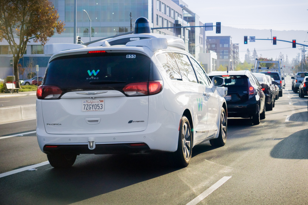 A self-driving car at a traffic light in Silicon valley. Sundry Photography /shutterstock