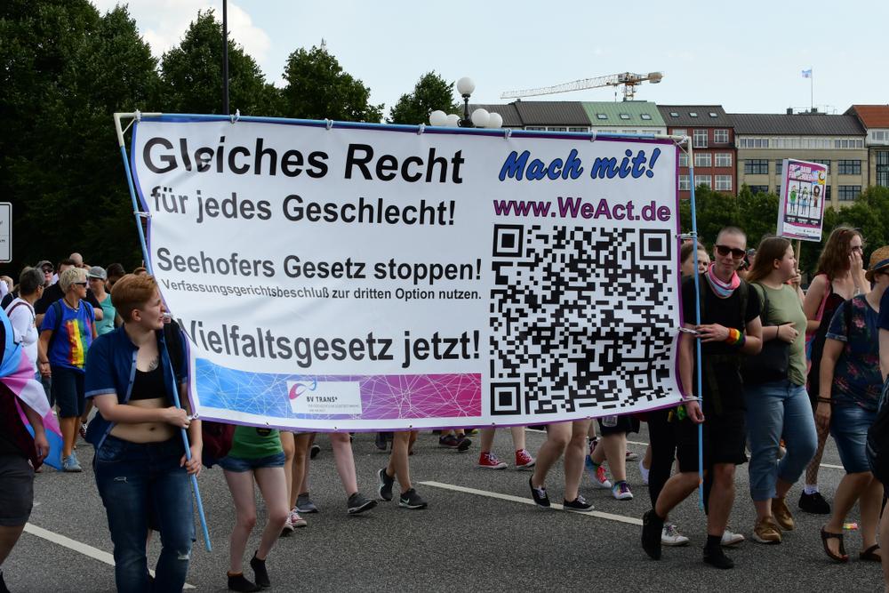 An LGBTQ demonstration in Hamburg, Germany. Photo: Gerckens-Photo-Hamburg/shutterstock