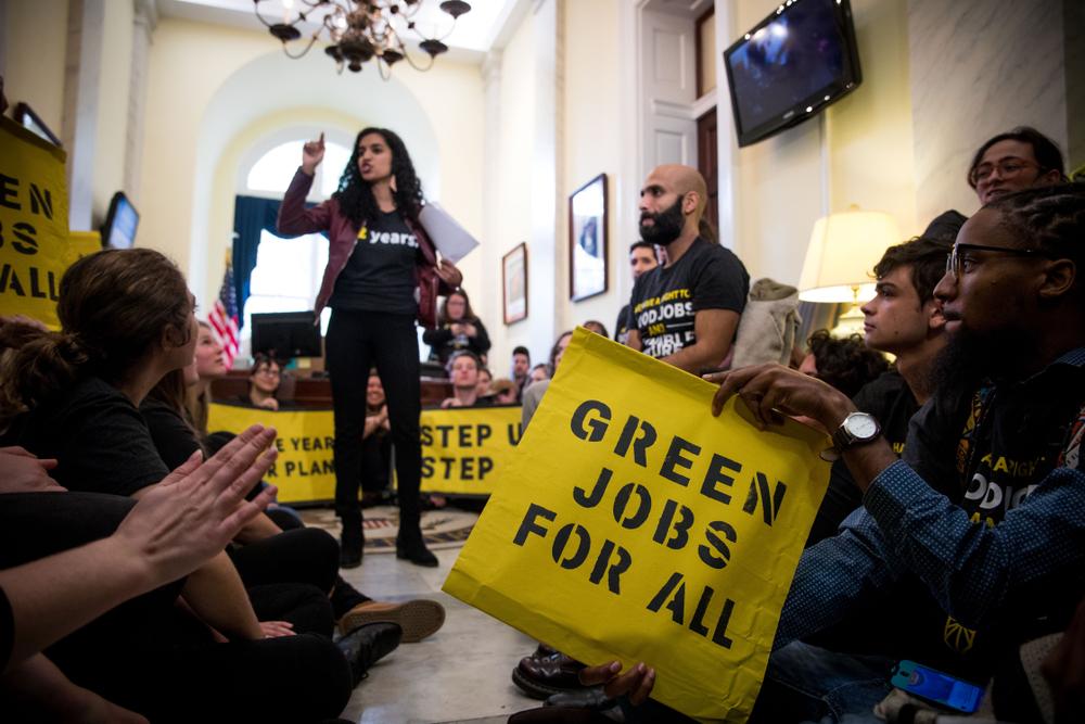 Sunrise activists protest at nancy Pelosi's office. Rachael Warriner/shutterstock