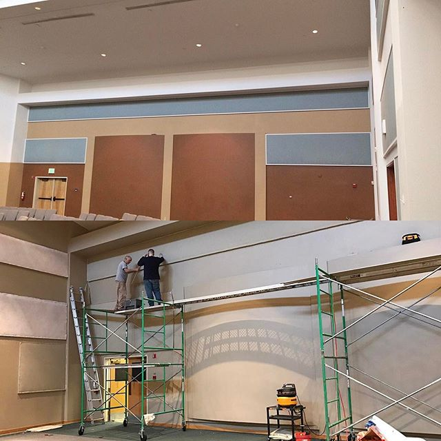 Project underway!!! Burnt orange and baby blue are gone. So far we have primer sprayed and sound panels recovered (not shown). This church sanctuary is getting a facelift.