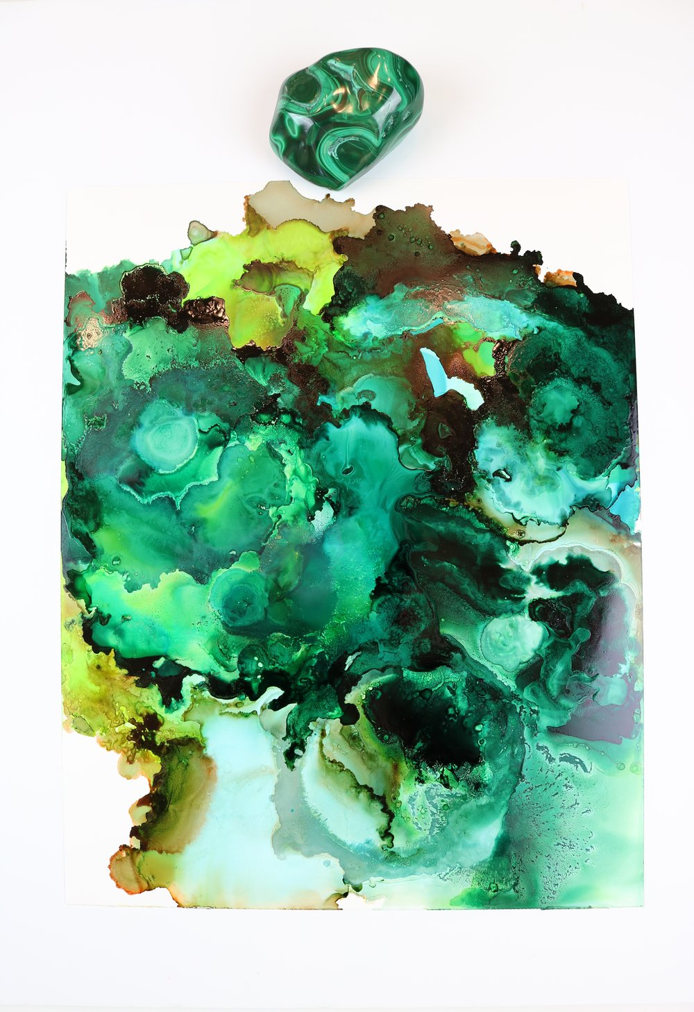 Alcohol Ink Painting by Jenna Webb - Malachite