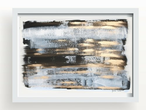 Abstract painting 15x22 inch light blue black white and gold leaf metallic