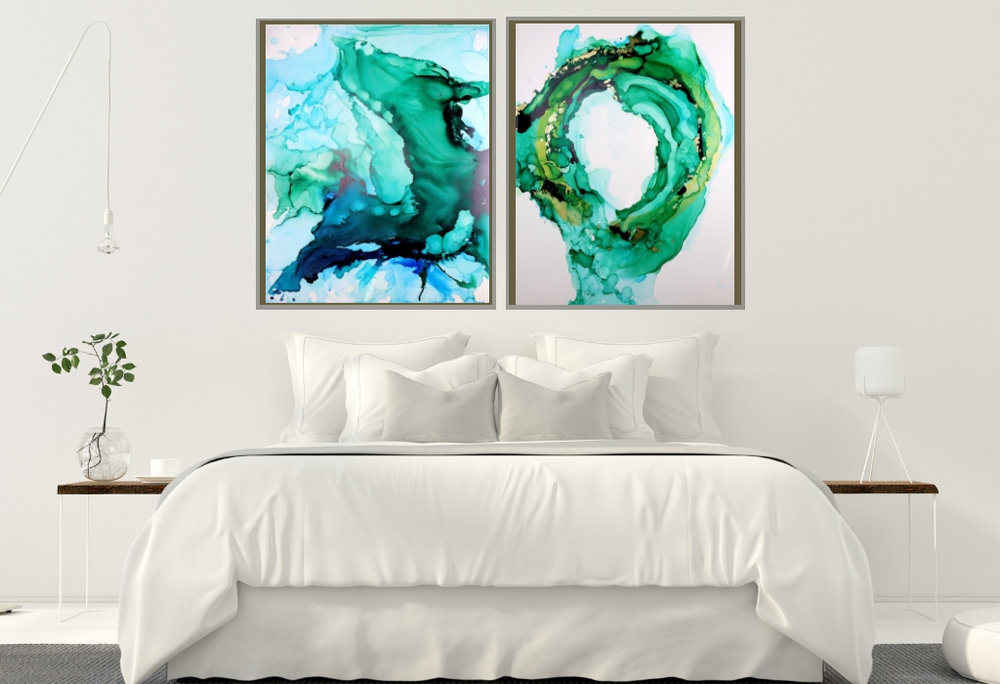 bedroom abstract paintings green blue crystal energy 1.jpg