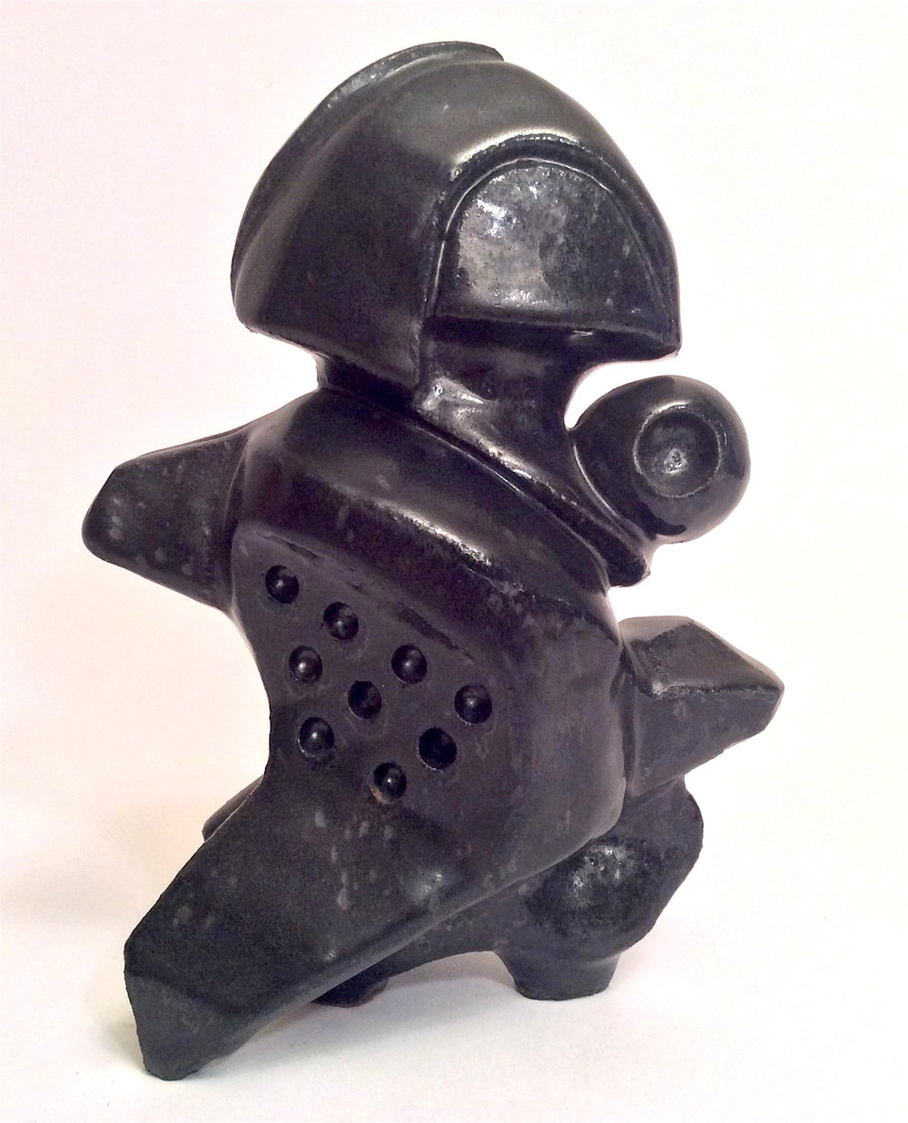 """Sculpture clay with black glaze. 2011. 9"""" H."""