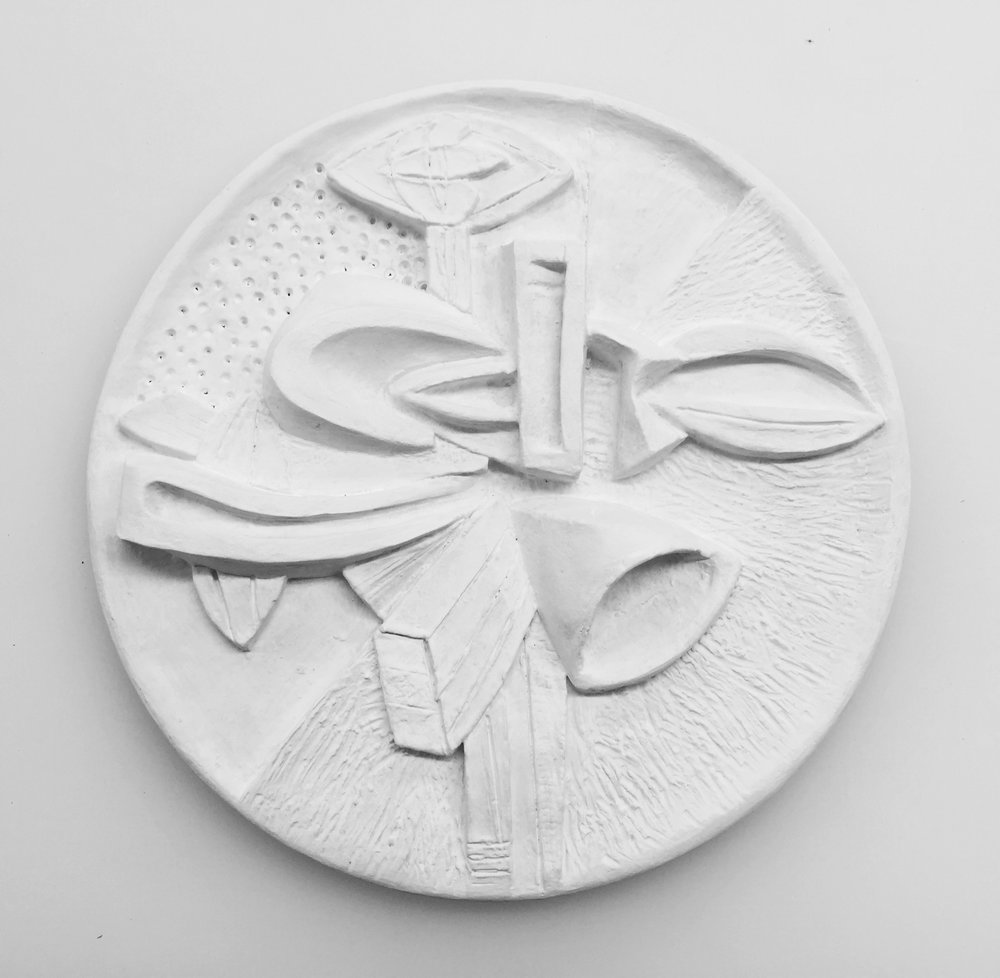 "Carved Earthenware. 2014, 13"" in diameter."