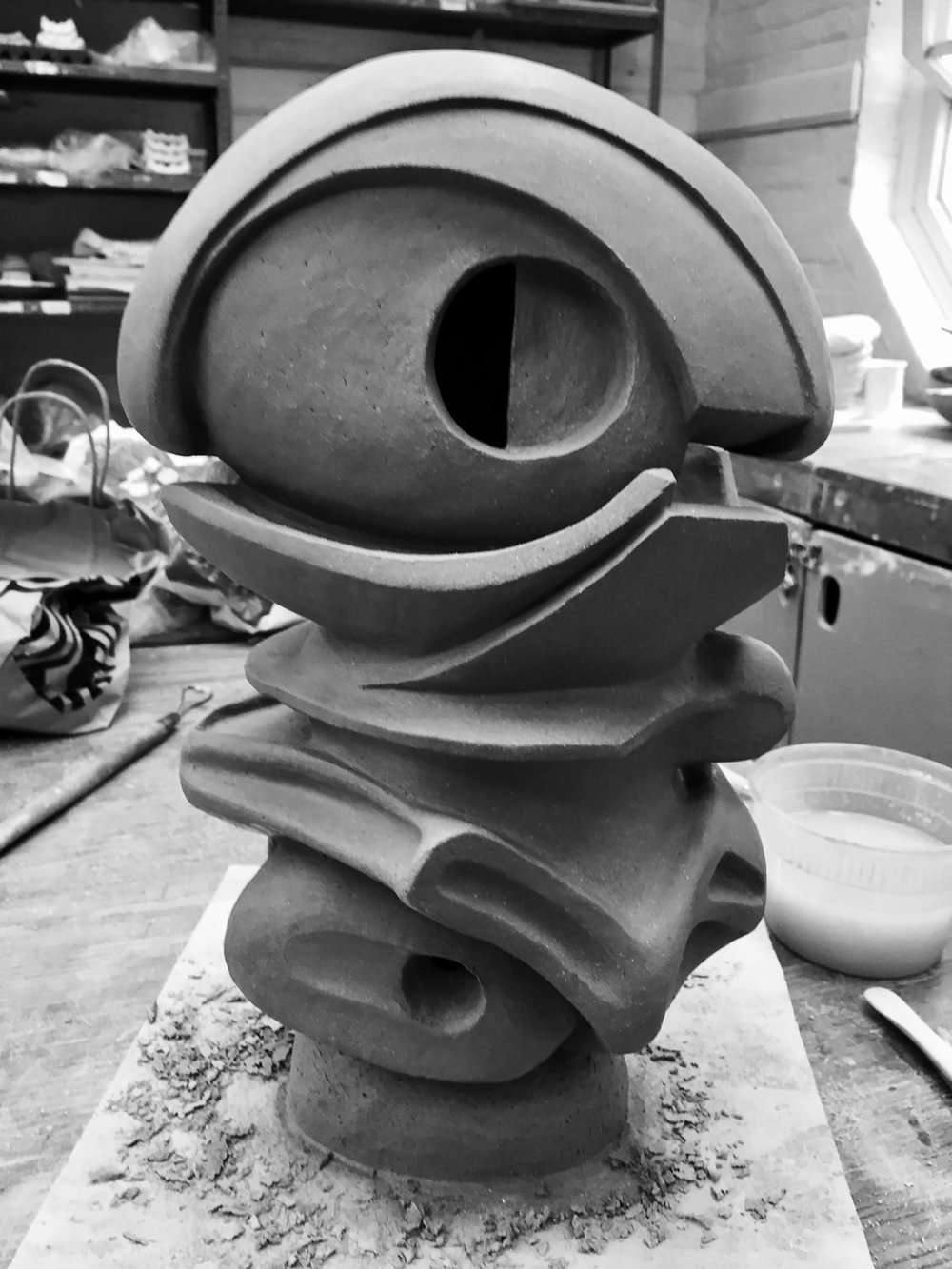 "T-1 Clay, unfired. 14"" high. 2018."