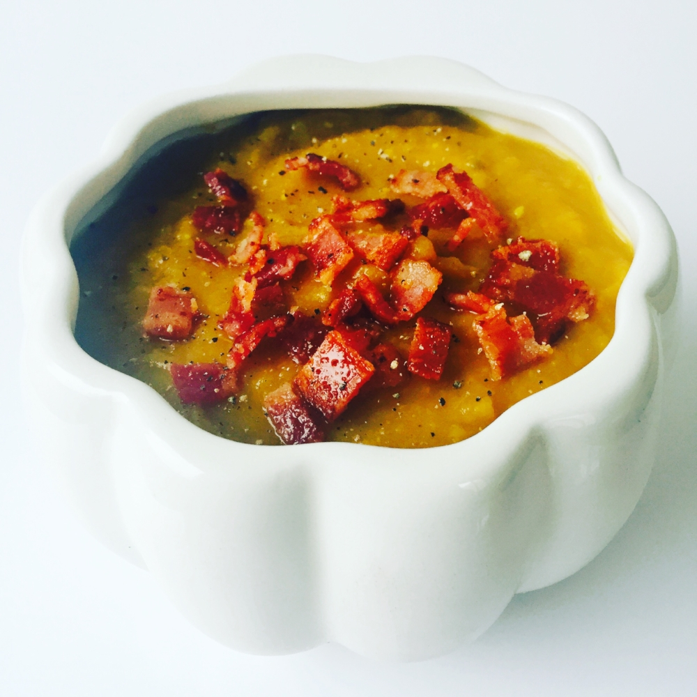 Butternut squash bisque with candied bacon