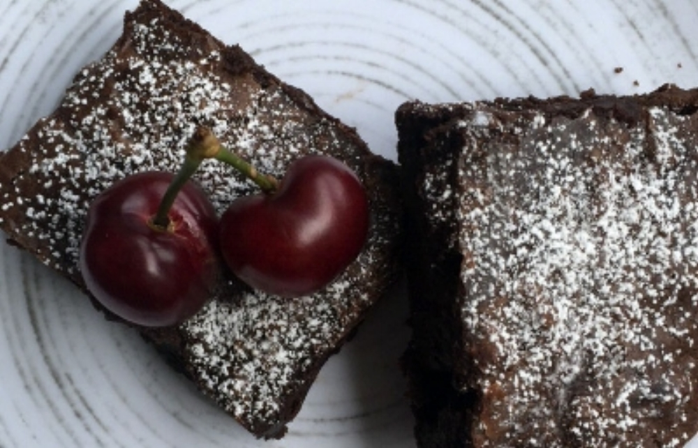 CHOCOLATE CHERRY CARDAMOM BROWNIES