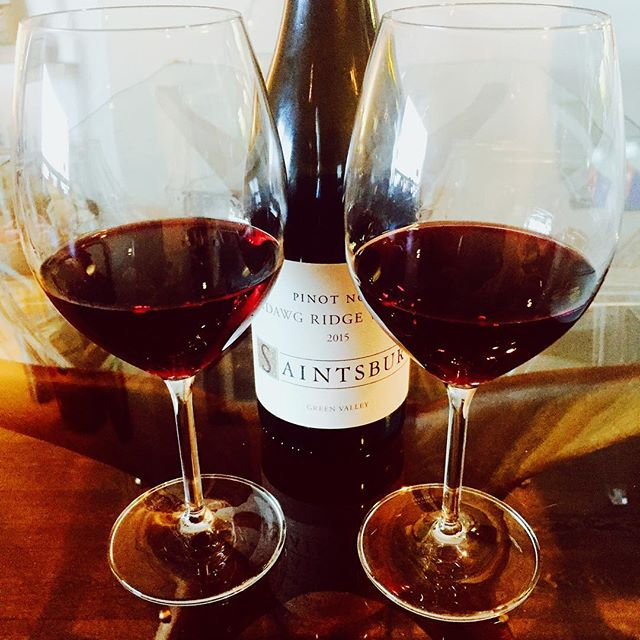 Chin, chin! Happy #nationalwineday! Sip and savor... This Pinot is silky, smooth, and sensational~🍷✌️ @saintsburywinery #sundawgridge #pinotnoir #celebrate #life #love #dreams #foodandwine #wine #sanfrancisco