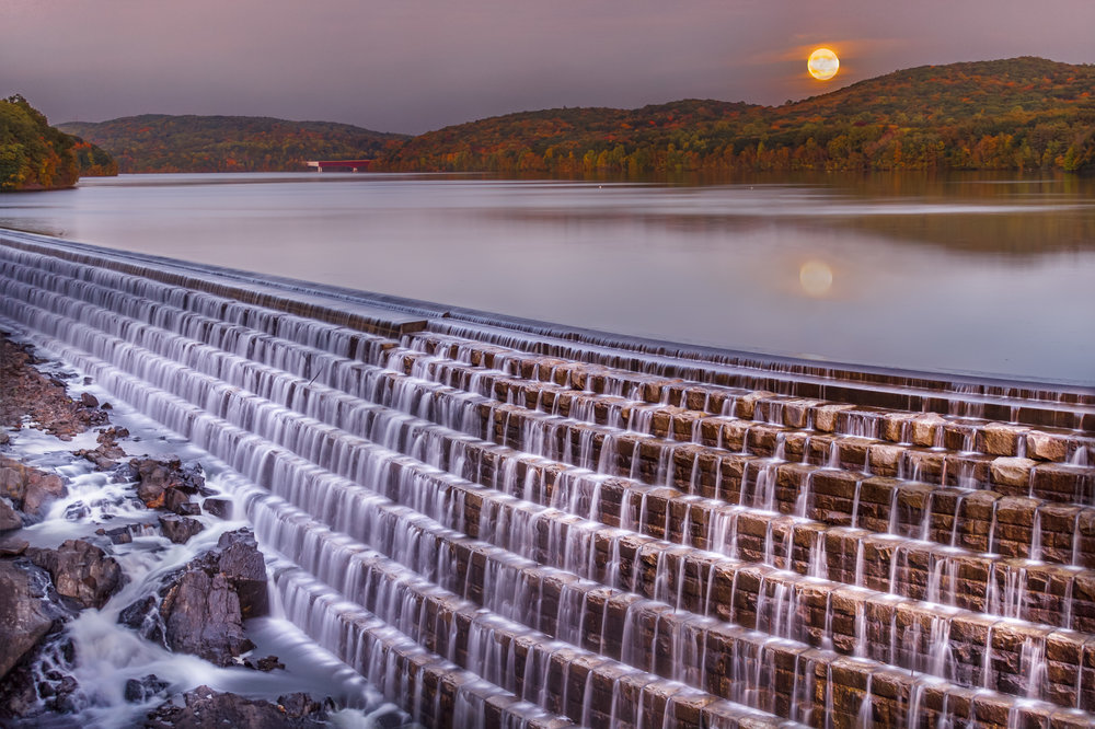 Multiple exposures blended to create this image with the darker sky and the lighter water (Location: Croton Dam)
