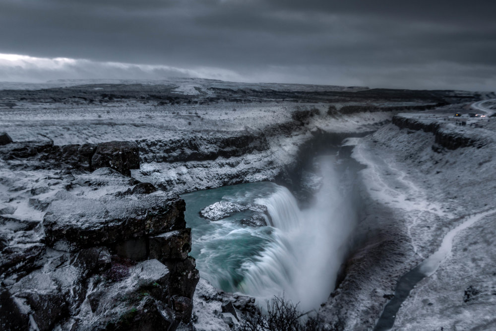 Shot was taken during a fierce downpour of snow and wind. Location: Gulfoss