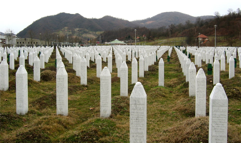 Some of the more than 6,100 gravestones at the  Srebrenica-Potočari Memorial and Cemetery for the Victims of the 1995  Genocide
