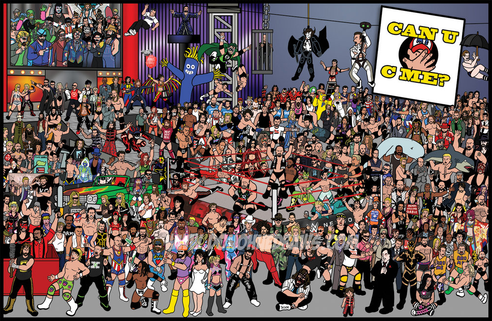 Can U C Me?   I got a little carried away with this one. There are 300 wrestlers on this page and the goal is to find John Cena. Well, 299 wrestlers and 1 Waldo. This is a remake of my original piece, which only had 241 wrestlers.