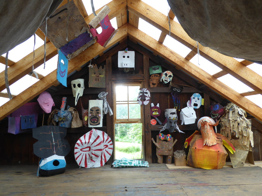 Mask collection in the art barn.  2017