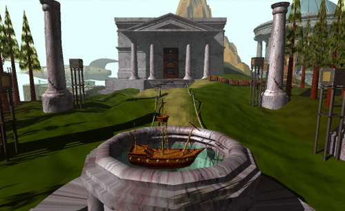 Myst-library_and_ship.png