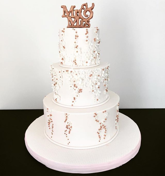 Pale pink, white and rose gold 😍 inspired by our beautiful Brides dress. #mrandmrs #joeandcorey #jorey #phillycake #weddings #wedding #cake #bestof #thecakery #nj #nyc #philly #custom #inspired #bride #groom