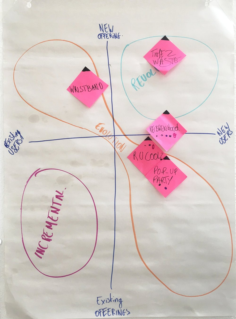 Innovation Matrix: We placed top ideas on a matrix of New/Existing users and offerings.