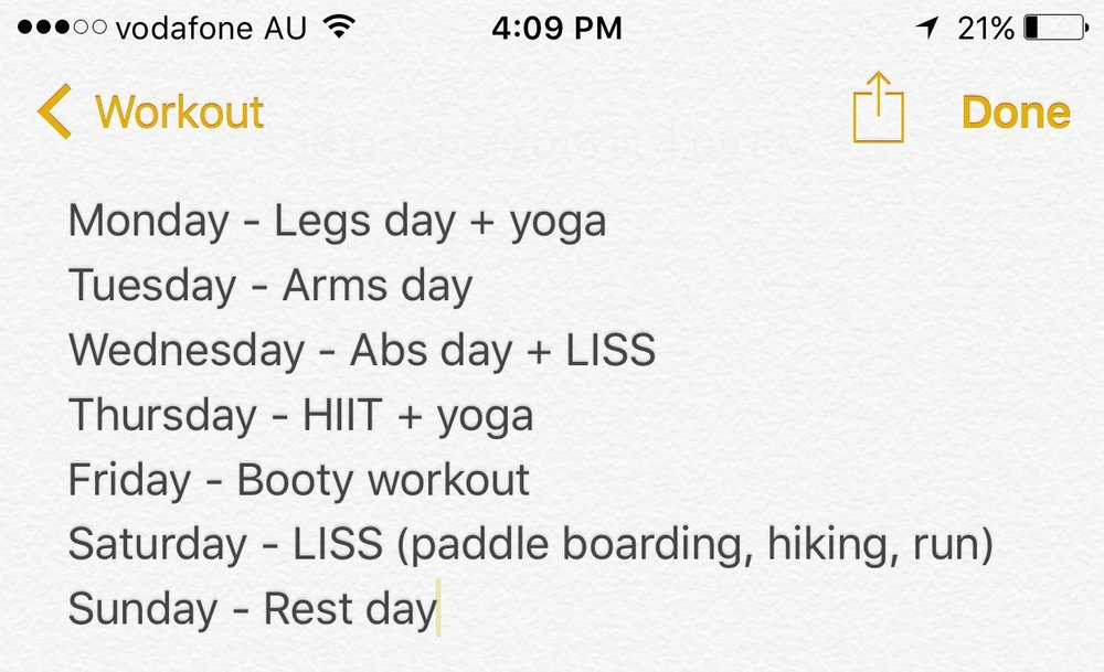 An example of my fitness schedule for the week.