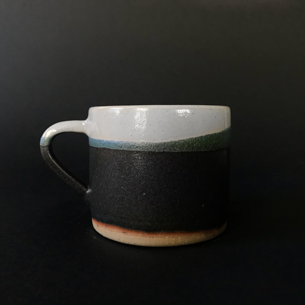 Stoneware mug, color blocked.