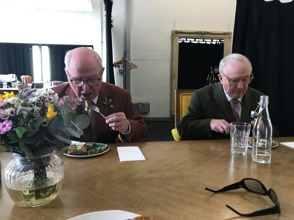 / - Lunch break on shoot in London with artists Gilbert and George.