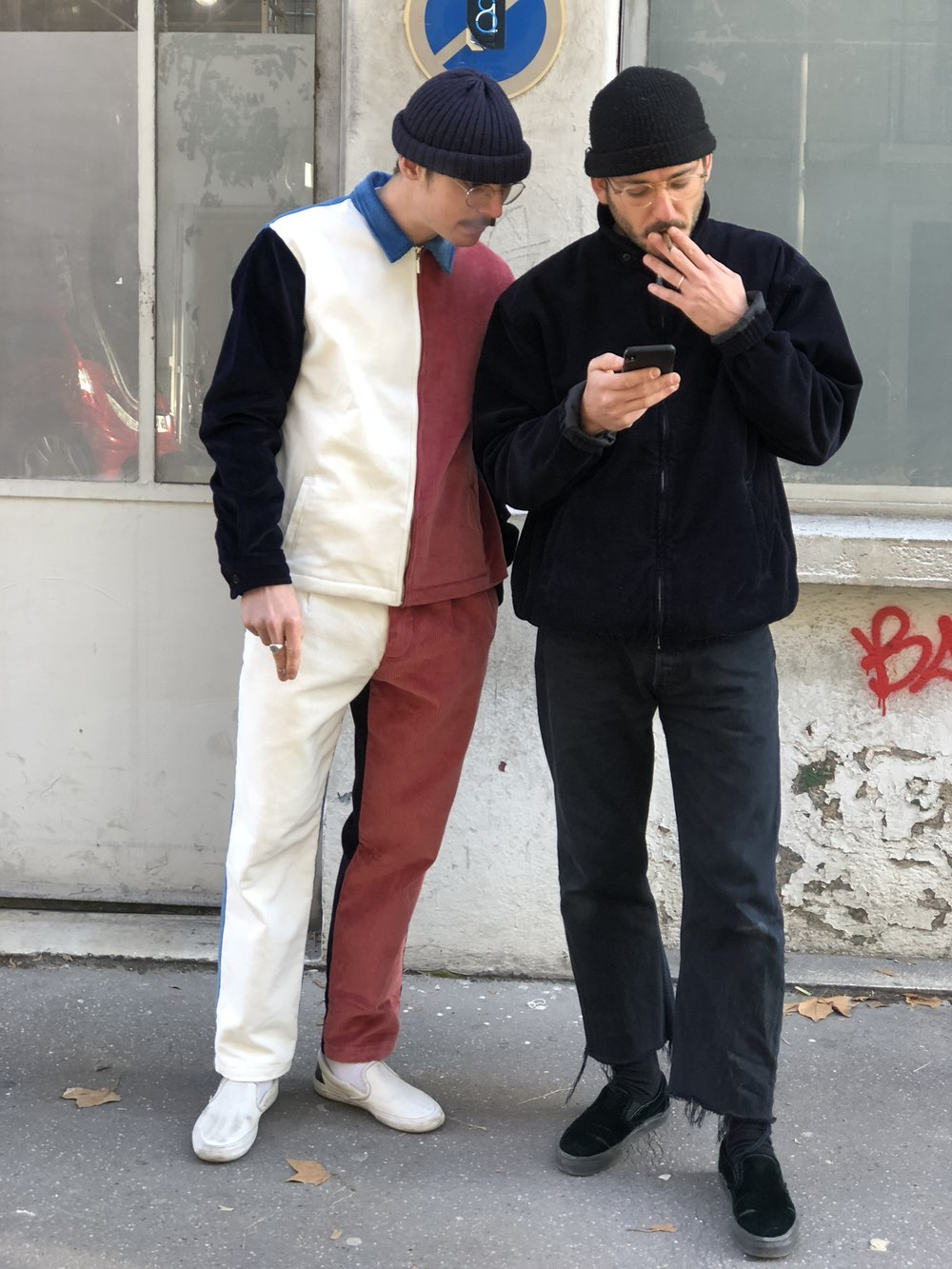 / - Lyon-FR: Thibaut & Quentin looking at skate videos while we were shooting our look-book. I like both guys attitude a lot, not super relevant on this photo but still like them a lot.