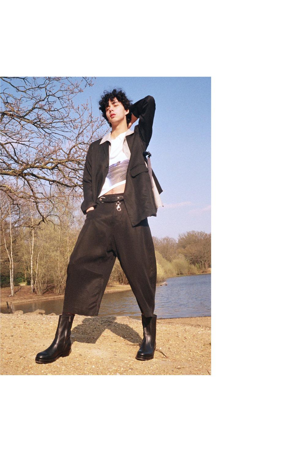 Suit & Shirt - Tourne de Transmission, T-shirt - Bianca Saunders, Belt - Martyn Bal (vintage), Boots - YMC