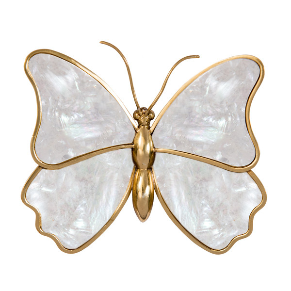 Mariposa Paperweight Brass and Shell