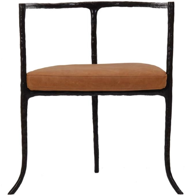 Twig Chair   Antique Bronze with Leather Seat Cushion