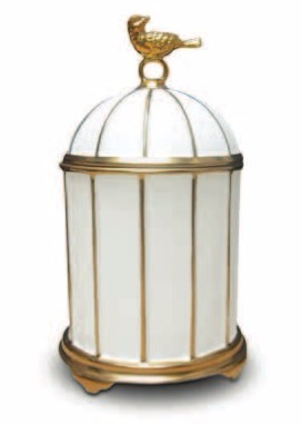 Birdcage Candle 24k Gold limoges porcelain with Pink Champagne fragrance