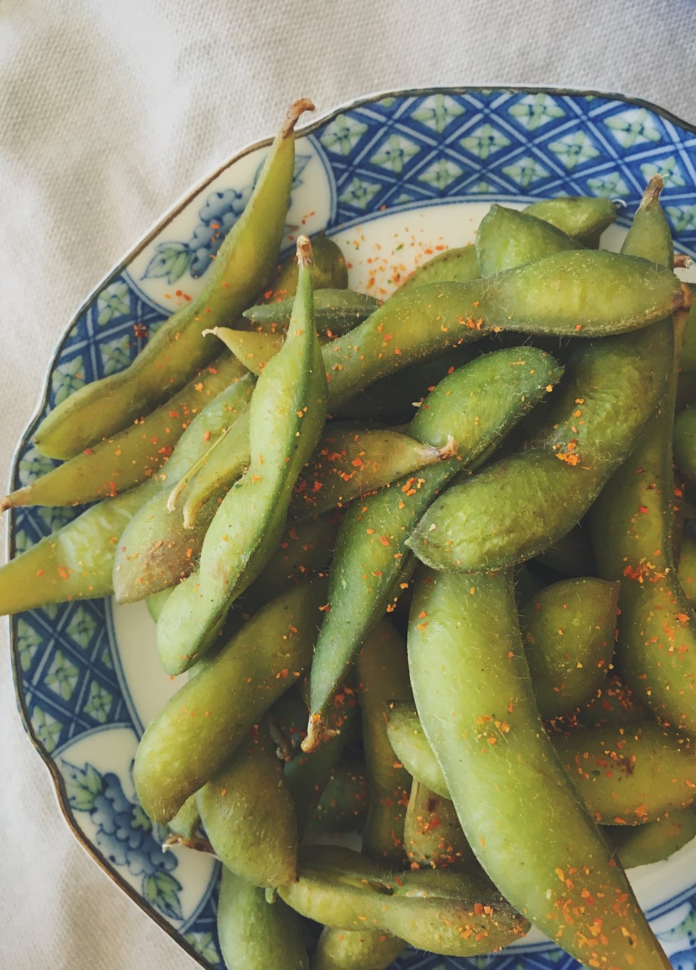 Edamame beans sprinkled with five spice powder and salt = game changer.