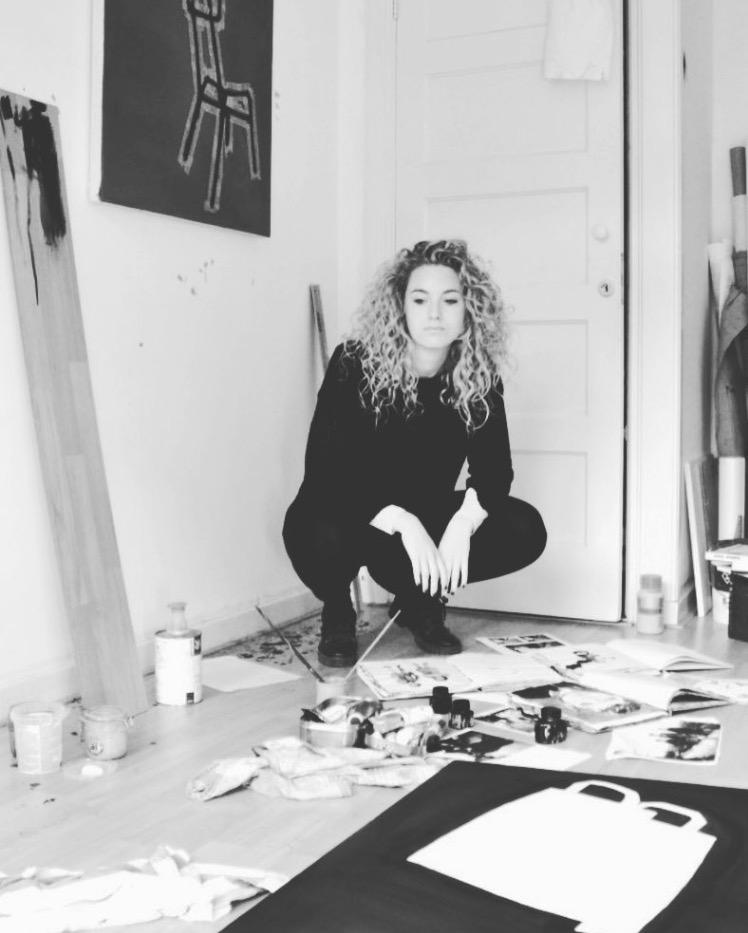 Artist Degann at work in studio