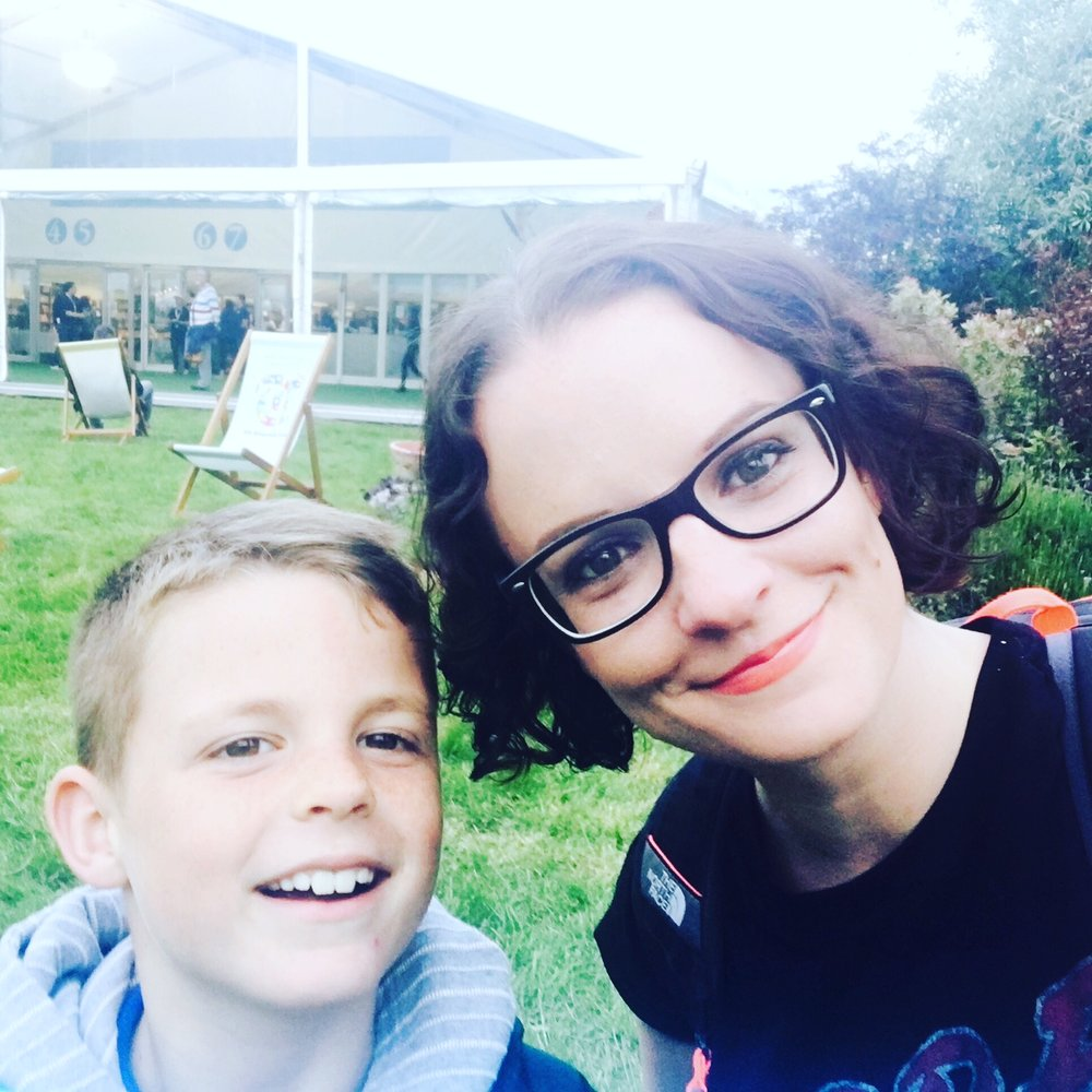 James with mum Sara at the Hay Festival 2016.