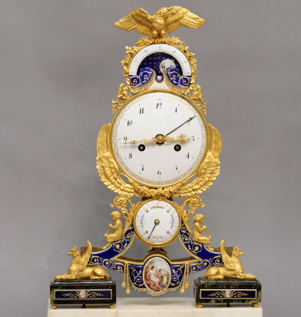 A beautiful  oseph Coteau, Mantel clock, 1796, France, enamelled bronze, gilt, marble.