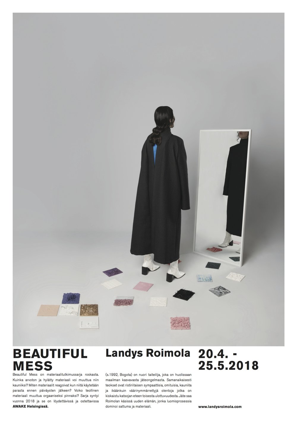 BEAUTIFUL MESS / Landys Roimola - Welcome to the opening of BEAUTIFUL MESS on the 20th of April at 6PM to Awake!The exhibition is the last one at Awake and definitely worth a visit. The texture, colors and composition of these pieces are something different.Beautiful Mess is a series of material experiences of trash. How can something so worthless and abandoned become so beautiful? How do the materials react when used after expiration date? Can industrial turn into organic? Series started at 2018 and can be found and bought at AWAKE Helsinki.Landys Roimola(born 1992, Bogota) is a young artist, who is concerned about the growing problem with waste and recycling. At the same time the sculptures are still relatable, strange and beautiful - like misunderstood creatures that have been pulled from another universe. Dominated by the material, and with some unexpected results along the way, the waste gets a new life in Roimola's hands.www.landysroimola.com
