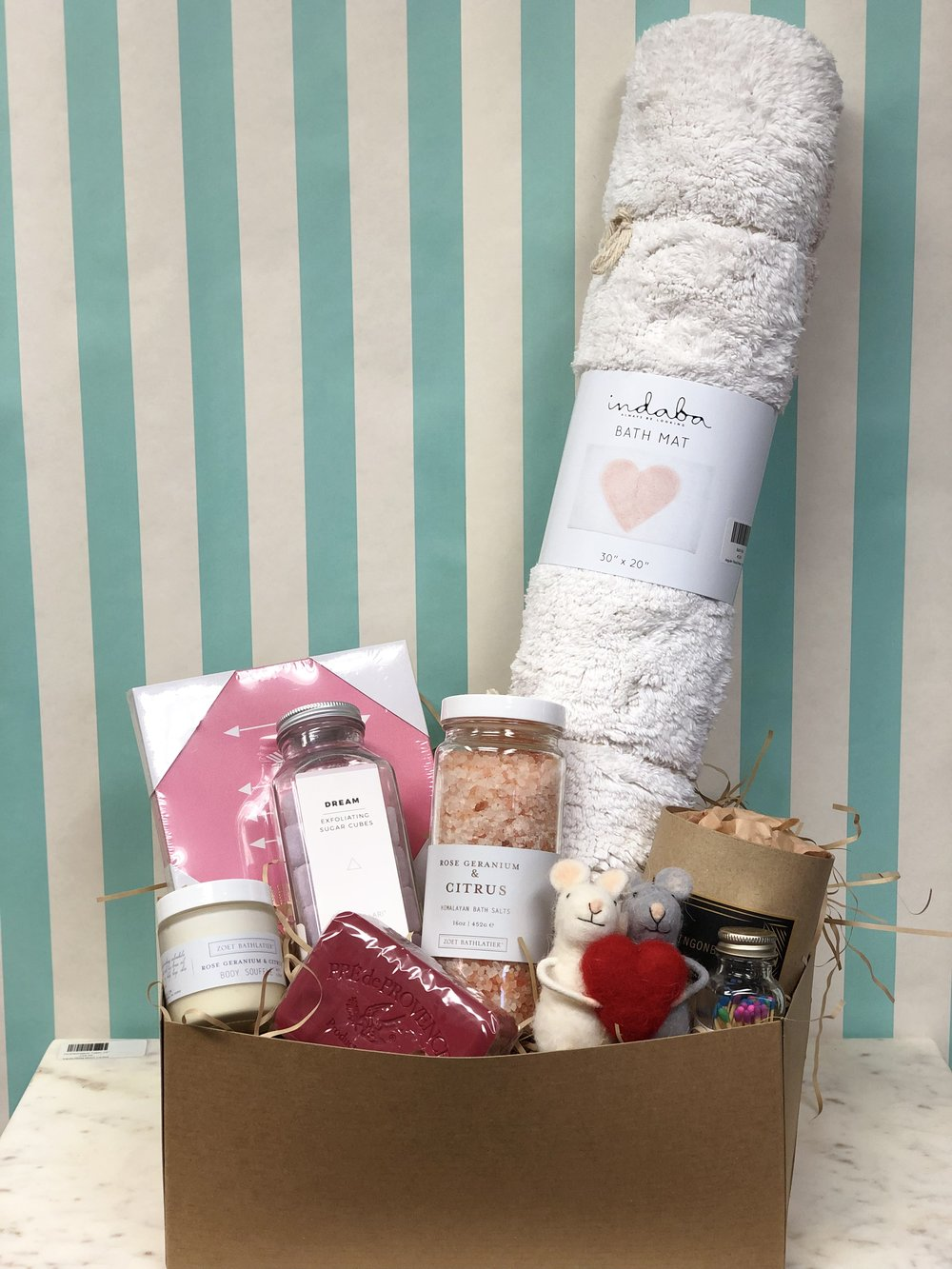 XL Box of Love- $259.99   Our Extra Large box is nothing short of spectacular. Equipped with a line of pampering products from Zoet Bathlatier, European soap, Harper+Ari Exfoliating Sugar Cubes, and a love themed bath mat, this gift box is sure to be a home run.