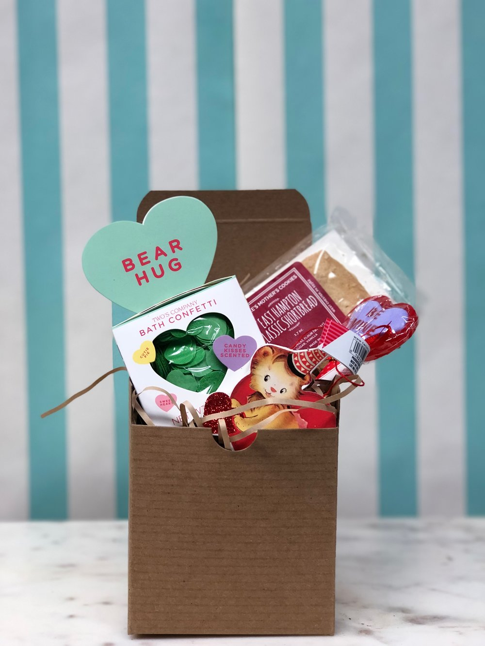 Small Box Of Love- $18.99   Our small box is perfect for your small valentine! Sweet treats and bath confetti included!
