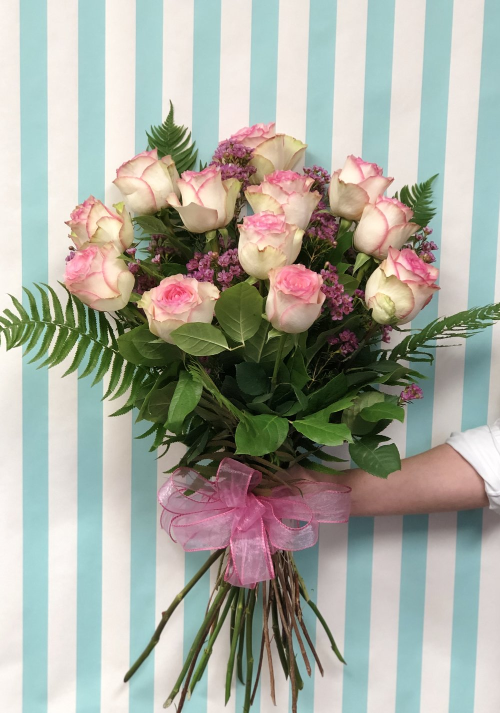 Rose Presentation Bouquet- $90   1 Dozen long stem roses arranged in a beautiful presentation bouquet. Colors may vary unless specified.