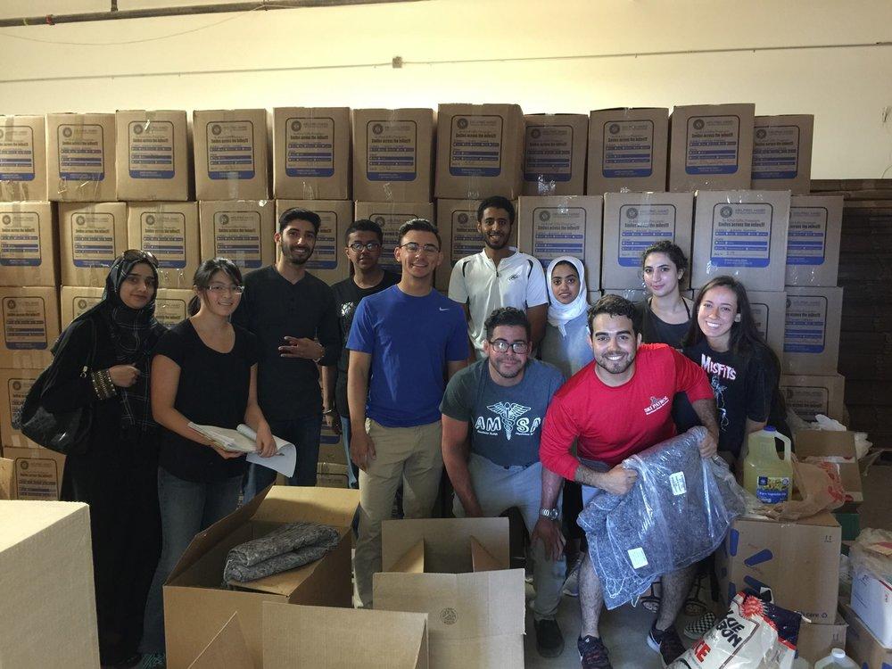 LHI volunteers in Utah prepare aid supplies for shipping.