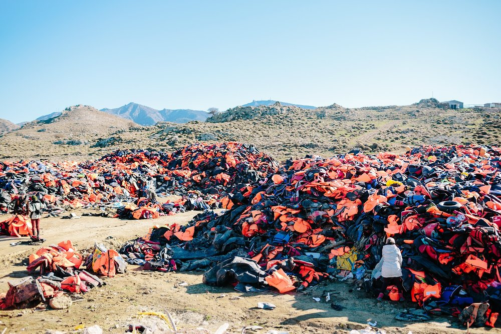 The lifejacket graveyard. Represents the hundreds of thousands of refugees who crossed to Greece from Turkey.