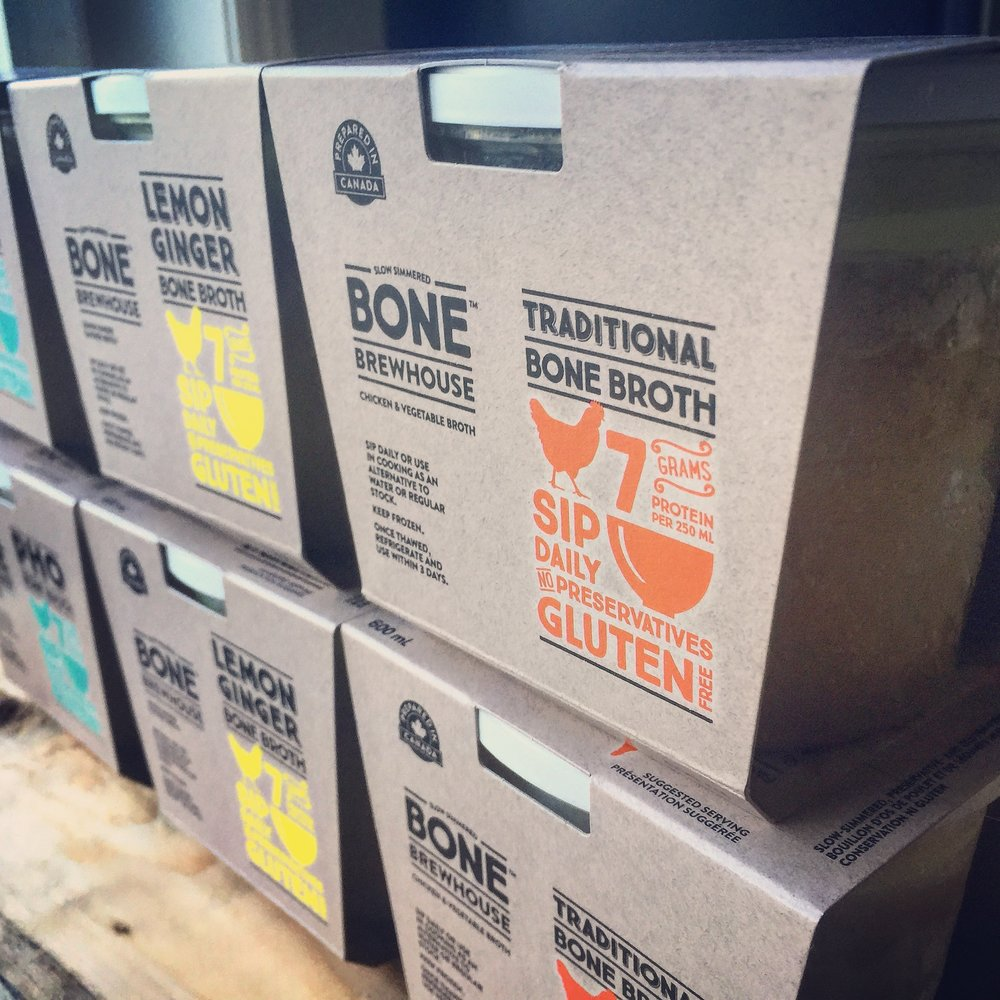 Various package of Bone Brewhouse slow-cooked bone broth.