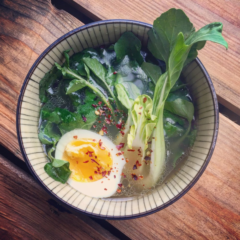 Greens, Egg & Pho recipe made with bone broth created by Bone Brewhouse.