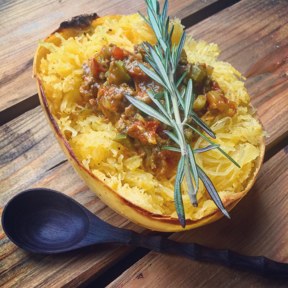 Baked Spaghetti Squash & Tomato Curry recipe made with bone broth created by Bone Brewhouse.