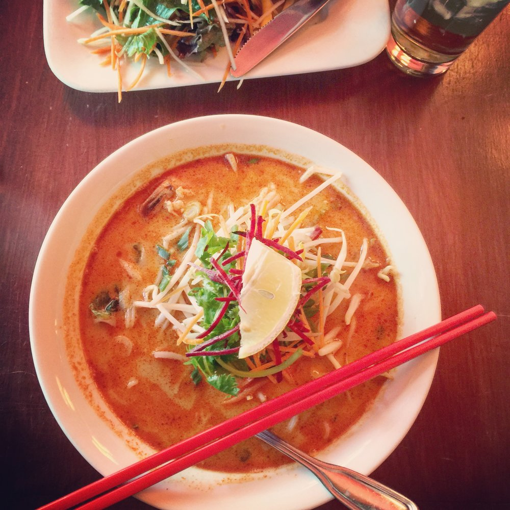 Spicy Red Curry & Coconut Noodle Bone Broth Soup recipe made with bone broth created by Bone Brewhouse.